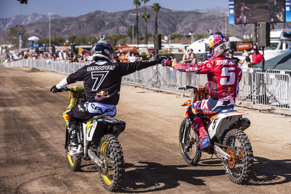 James Stewart (L) and Ryan Dungey (R) congratulate eachother at Red Bull Straight Rhythm at Fairplex at Pomona on 10th of October, 2015 in Pomona, CA USA.